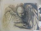 Angel, oilstick pencil. Sold