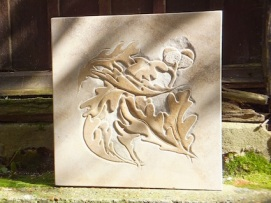 Blowing leaves, Ancaster stone. 40cmx40cmx5cm £475